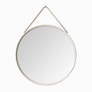 Specchio rotondo vintage bianco con cordicella in pelle