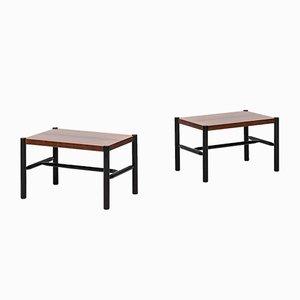 Tables d'Appoint en Palissandre et en Laque Noire par Arne Norell, 1960s, Set de 2