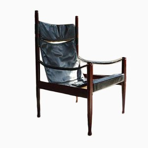 Danish Black Leather and Rosewood Safari Chair by Erik Wørts for N. Eilersen, 1960s