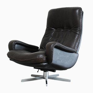 Vintage Swiss Brown Leather Lounge Chair from De Sede, 1970s