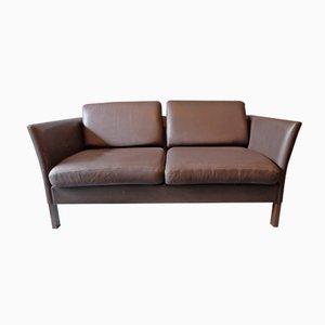 Sofá de dos plazas danés de cuero, años 70
