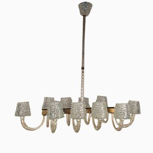 Vintage Italian Rostrato 10 Armed Chandelier from Ercole Barovier, 1940s