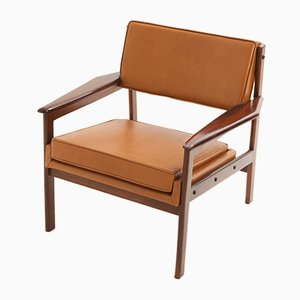 Brazilian Hardwood and Leather Drummond Armchair by Sergio Rodriques, 1950s