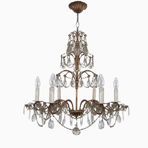 Vintage Crystal and Gold Metal Chandelier