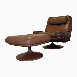 Vintage Swiss Lounge Armchair and Ottoman by De Sede, 1970s