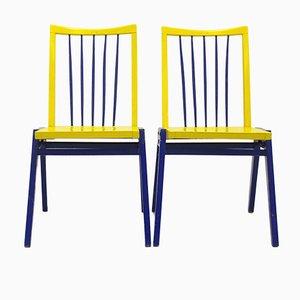 Sillas en azul y amarillo de Roland Rainer. Juego de 2