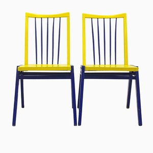 Vintage Blue & Yellow Chairs by Roland Rainer, Set of 2