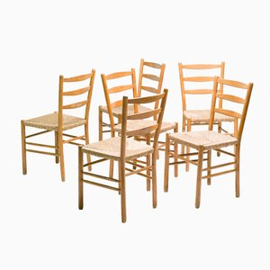 Swedish Oregon Pine Dining Chairs, Set of 8