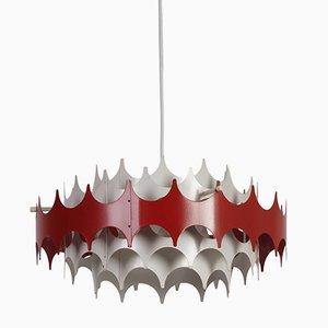 Lampe à Suspension Blanche et Rouge de Doria, 1960s