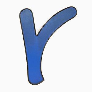 Lettre R Mid-Century Bleue Eclairée