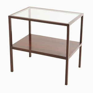 Side Table with Glass Top from Joaquim Tenreiro