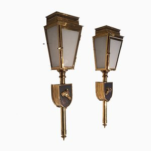 Messing & Glas Wandlampen mit Pferd Motiv, 1950er, 2er Set
