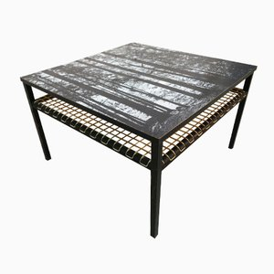 Coffee Table with Forest Print Top by Georges Adrien Tigie, 1965