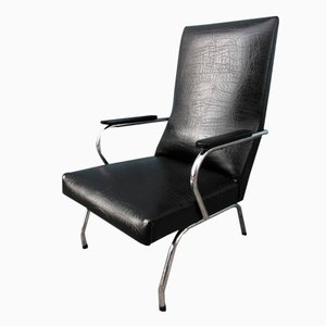 Vintage Dutch Tubular Metal and Black Skai Easy Chair, 1950s