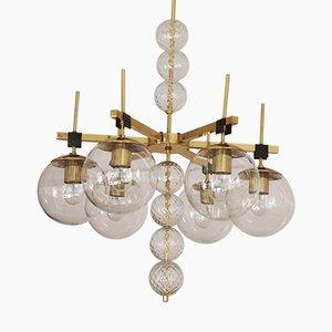 Lámpara de araña grande con esferas de cristal soplado