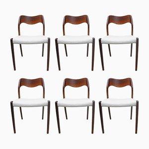 Chaises de Salle à Manger Modèle 71 en Palissandre par Niels O. Møller pour J. L. Møllers, 1951, Set de 6