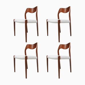 Model 71 Teak Dining Chairs by Niels Otto Møller for J.L Møllers, 1951, Set of 4