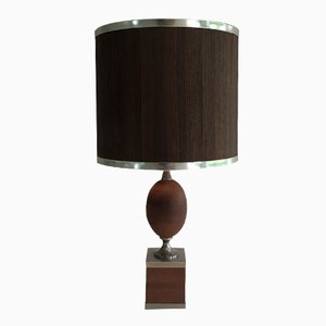 Wood and Steel Egg Table Lamp