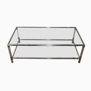 Mesa de centro vintage de metal cromado y plexiglás