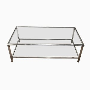 Table Basse Vintage en Chrome et en Plexiglas