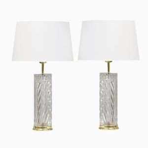 Crystal Table Lamps by Olle Alberius for Orrefors, 1970s, Set of 2