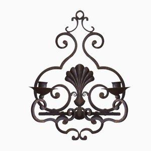 Candelabro de pared francés vintage de hierro forjado