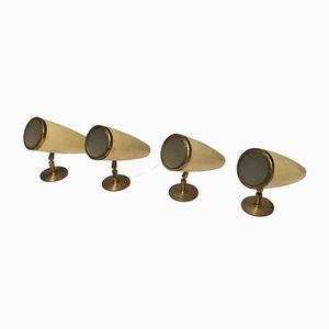 Italian Aluminum & Brass Wall Lamps, 1950s, Set of 2