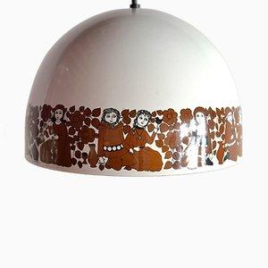 Lámpara colgante de esmalte de Kaj Franck & Esteri Tomula para Arabia Finland, años 60