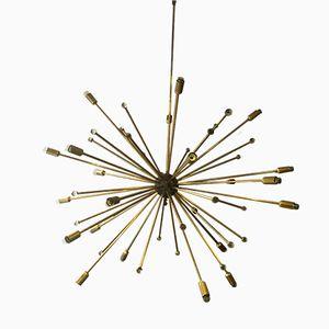 Italian Sputnik Brass & Murano Glass Lamp, 1950s