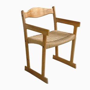 Butaca danesa moderna con asiento de cuerda de papel, años 60