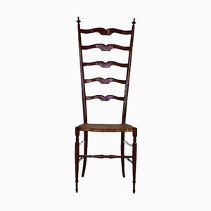 Chiavari Stuhl mit Hoher Rückenlehne aus Nussholz von Giuseppe Gaetano Descalzi, 1950
