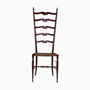 High Back Red Walnut Chiavari Chair from Giuseppe Gaetano Descalzi, 1950