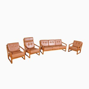 Danish Teak and Leather Living Room Set from Juul Kristensen