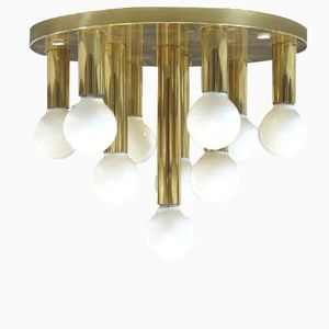 Brass Ceiling Lamp with Ten Lights, 1970s