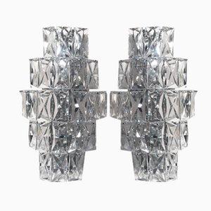 Apliques alemanes grandes de cristal de Kinkeldey, años 60. Juego de 2