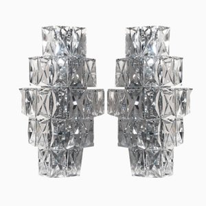 Large German Crystal Glass Sconces from Kinkeldey, 1960s, Set of 2