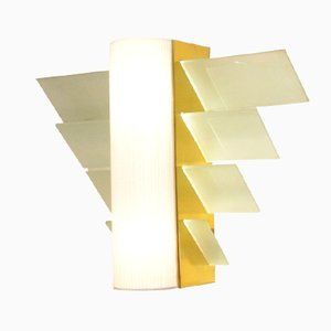 XL Art Deco French Golden Metal & Glass Wall Sconce, 1930s