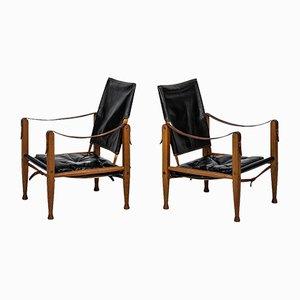 Chaises Safari Noires en Cuir par Kaare Klint pour Rud Rasmussen, Set de 2