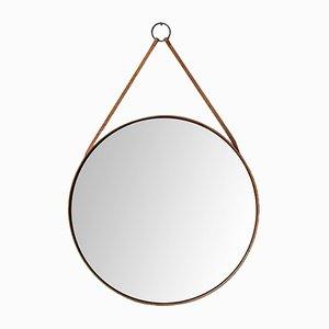 Schwedischer Spiegel mit Rahmen aus Eiche, Messing & Leder