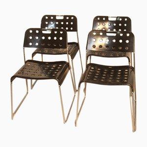 Chaises Noires par Rodney Kinsman pour Bieffeplast, Set de 4