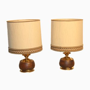 Italian Wood & Brass Table Lamps, 1950, Set of 2