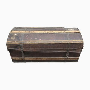 Antique Leather and Wood Trunk