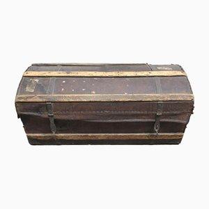 Baule antico in legno e pelle