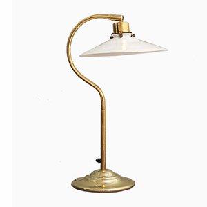 Lámpara de mesa danesa de vidrio y metal