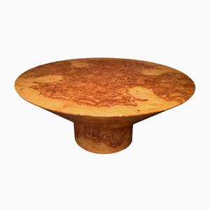 Art Deco Round Olive & Burl Wood Table, 1920