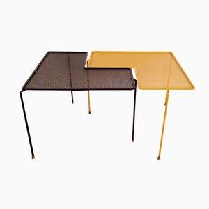 Mesas Domino Mid-Century en negro y amarillo. Juego de 2