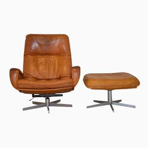 S 231 Swivel Armchair with Ottoman from de Sede, 1960s