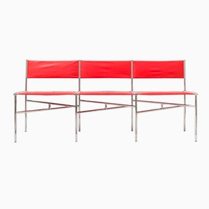 Red Leather Meeting Chairs by Laurence Humier, Set of 3