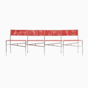 Korallenrote Batyline Stühle von Laurence Humier, 4er Set