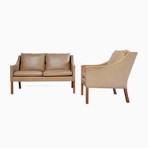 Braunes Vintage 2208 & 2207 Sofa & Sessel von Børge Mogensen für Fredericia